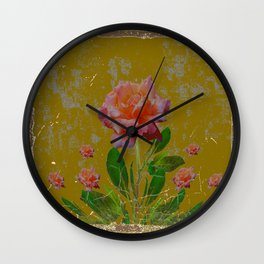 ANTIQUE AVOCADO COLOR  CORAL  PINK ROSES BOTANICAL ART Wall Clock