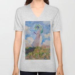Claude Monet - Woman with a Parasol facing left Unisex V-Neck