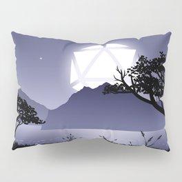 Violet Night Big D20 Dice Full Moon Tabletop RPG Landscape Pillow Sham