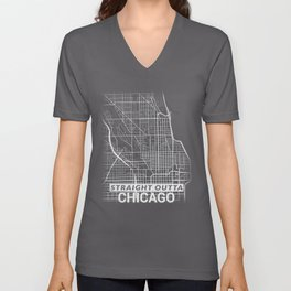 Straight Outta Downtown Chicago Illinois City Map Tee Unisex V-Neck