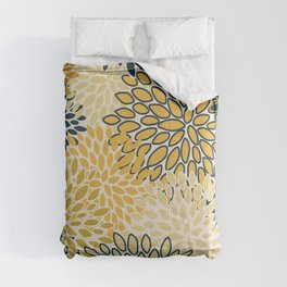 Floral Prints, Abstract Art, Navy Blue and Mustard Yellow, Coloured Prints Comforters