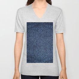 Mandala on Blue Jeans Unisex V-Neck