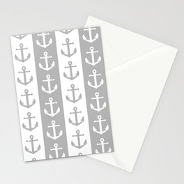 Nautical Sailor Stripes with Anchor Pattern Gray 241 Stationery Cards