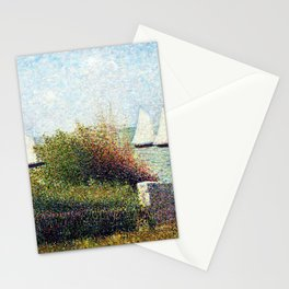 Georges Seurat - The Harbor Of Grandcamp - Digital Remastered Edition Stationery Cards