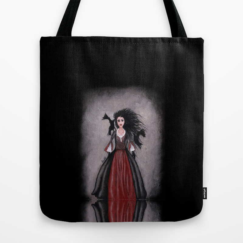 Little Black Haired Girl + Crows Tote Bag by Roublerust TBG905958
