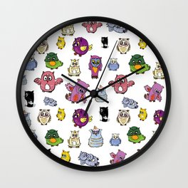 Pattern set of owl, doodle character Wall Clock