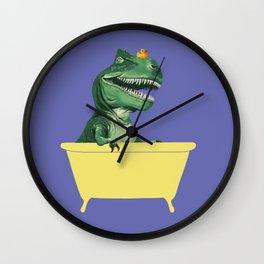 Playful T-Rex in Bathtub in Purple Wall Clock