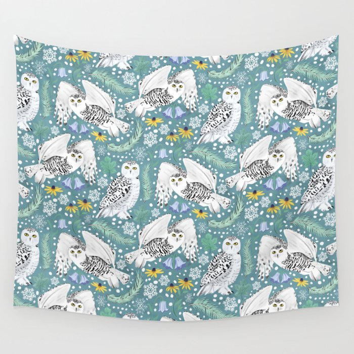 Snowy Owls on a Snowy Day - Teal Background Wall Tapestry