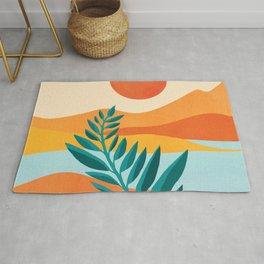Mountain Sunset / Abstract Landscape Illustration Rug