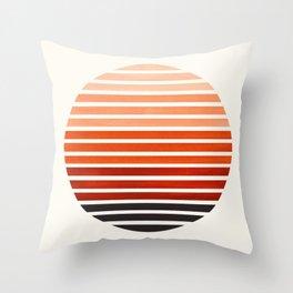 Burnt Sienna Mid Century Modern Minimalist Scandinavian Colorful Stripes Geometric Pattern Round Cir Throw Pillow