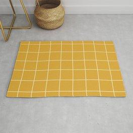 Yellow Mustard #9 Grid Pattern Line Stripe Minimalist Geometric Stripes Lines Spring Summer Rug