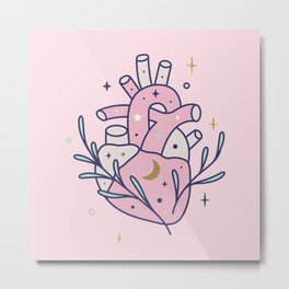 Anatomical heart on pink Metal Print