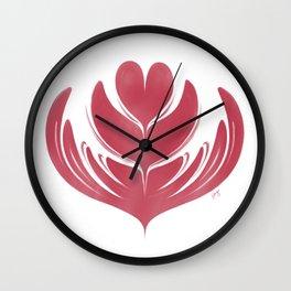 Latte Tulip in Rose Wall Clock
