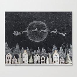 Christmas Village Chalkboard Santa & Reindeer Leinwanddruck