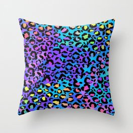 Holographic Rainbow Leopard Print Spots on Bright Neon Throw Pillow