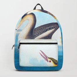 Crested Grebe James Audubon Vintage Scientific Illustration American Birds Backpack