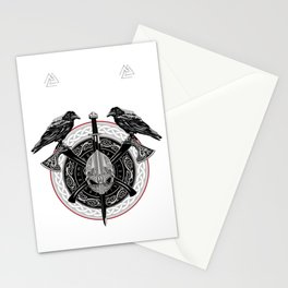 Valhalla Odin design with Huggin and Muninn and axe/helmet Stationery Cards