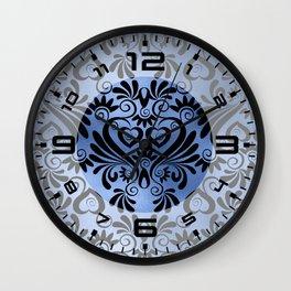 Classic Blue Swirls Damask 8 Wall Clock