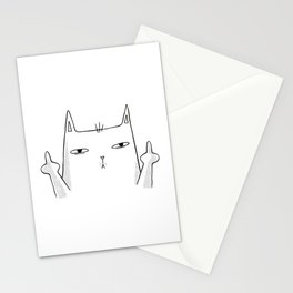 Funny cat sketch cat showing both middle fingers Stationery Cards