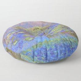 Water Lillies - Claude Monet (indigo blue) Floor Pillow