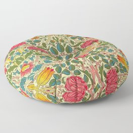William Morris Roses Floral Textile Pattern Floor Pillow