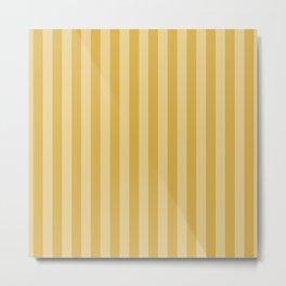 Large Two Tone Spicy Mustard Yellow Cabana Tent Stripe Metal Print