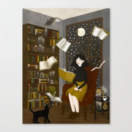 floating books Canvas Print