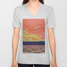 Tom Thomson - Sunset - Canada, Canadian Oil Painting - Group of Seven Unisex V-Neck