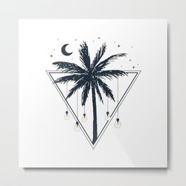 Lamps On The Palm Tree. Geometric Style Metal Print