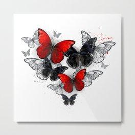 Realistic Black and Red Morpho Butterflies Metal Print