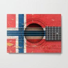 Old Vintage Acoustic Guitar with Norwegian Flag Metal Print