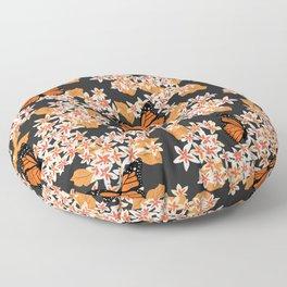 Monarch Butterflies Orange Floral Floor Pillow