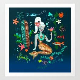 Blonde Leopard Martini Mermaid Art Print