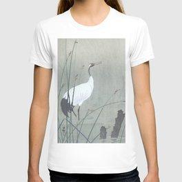 Crane Standing in the Swamp Water - Vintage Japanese Woodblock Print Art T-shirt