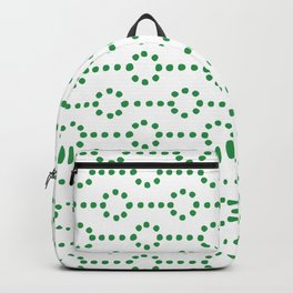 Christmas vector with dotted hoops of green stitches on white background Backpack