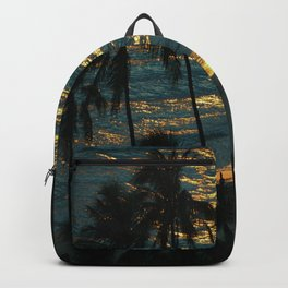 Waikiki Beach Sunset Hawaii Blue Tone Backpack