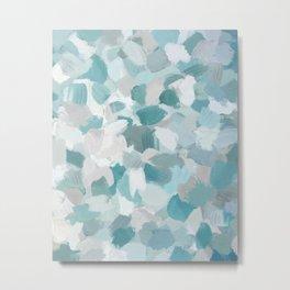 Mint Seafoam Green Turquoise Blue Sea Beach Glass Coastal Abstract Nature Ocean Painting Art Print Wall Decor  Metal Print