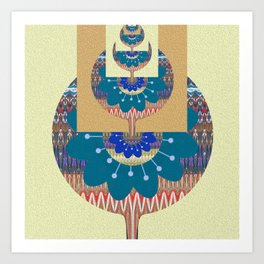 Vintage Psychedelic Dimensional Boho Floral Geometric Art Print