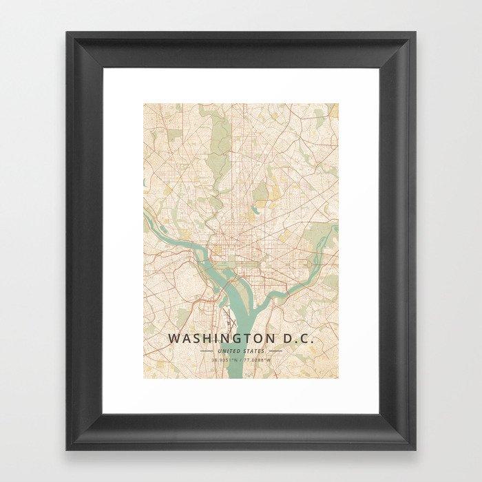 Washington D.C., United States - Vintage Map Gerahmter Kunstdruck