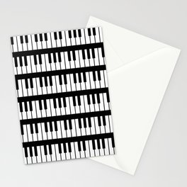 Black And White Piano Keys Pattern Stationery Cards