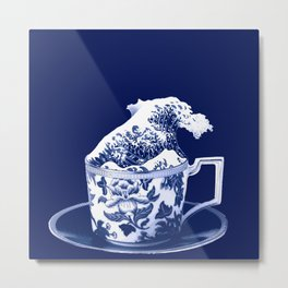 TEMPEST IN A TEACUP, HOKUSAI STYLE Metal Print