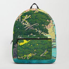 Vintage Japanese Woodblock Print Beautiful Water Creek Grey Rocks Green Trees Backpack