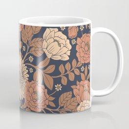 Peach, Dusty Rose, Mauve & Blue-Gray Floral Pattern Coffee Mug