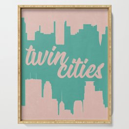 Minneapolis and Saint Paul Minnesota Twin Cities-Pink and Green Serving Tray