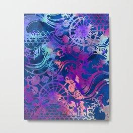 Japanese Stencil Pattern #2 | Flowing Water Waterwheel Basket Weave |Blue & Purple Watercolor Metal Print