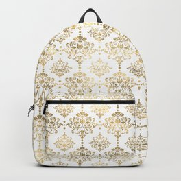 White & Gold Motif Backpack