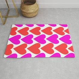 Pink and Red Hearts Rug