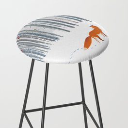 Fox in the white snow winter forest illustration Bar Stool