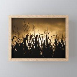 Corn field silhouettes Framed Mini Art Print