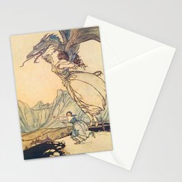 """The Dragon Caught the Queen"" by Arthur Rackham Stationery Cards"
